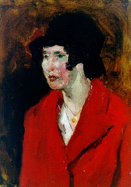 Breitner G.H.  | A lady with a red coat, Öl auf Tafel, 39,5 x 29,0 cm, signed u.l.