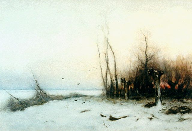 Louis Apol | A coulourful daybreak  in winter, Aquarell auf Papier, 37,0 x 54,7 cm, signed l.r.