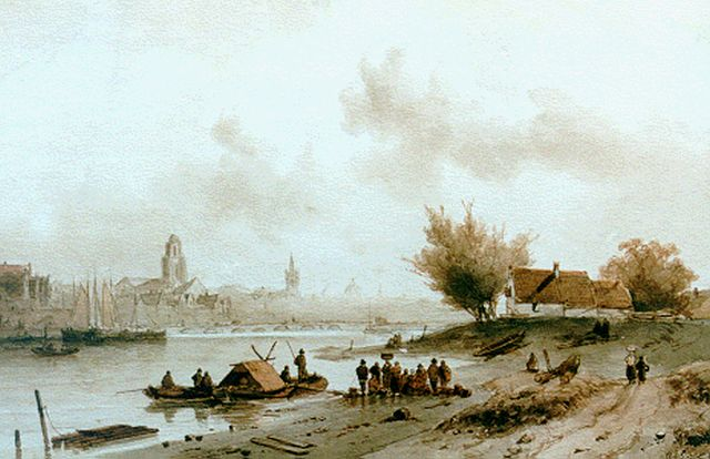 Charles Leickert | A ferry in a river landscape, Tinte und Aquarell auf Papier, 26,0 x 40,5 cm, signed l.r.