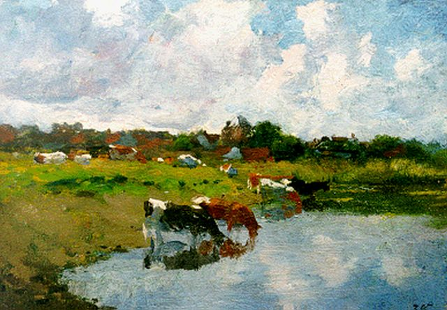 Jan Voerman sr. | Watering cows, Öl auf Tafel, 17,7 x 25,3 cm, signed l.r. with initials