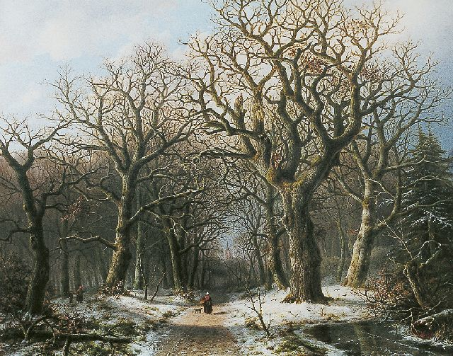 Mirani E.B.G.P.  | Gathering wood in winter, Öl auf Tafel 59,8 x 76,0 cm, signed c.l.