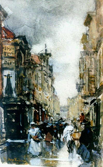 Floris Arntzenius | A view of 'De Spuistraat', The Hague, Kreide, Aquarell und Gouache auf Papier, 13,8 x 8,7 cm, signed l.l.