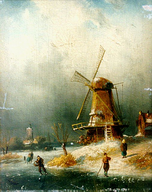 Charles Leickert | Skaters on the ice by a windmill, Öl auf Tafel, 21,2 x 15,7 cm, signed l.r.
