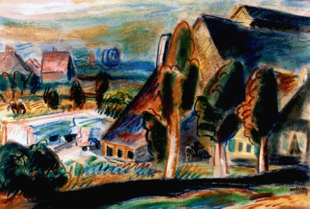 Leo Gestel | A view of a landscape, Huizen, Pastell auf Papier, 36,3 x 54,0 cm, signed l.r. twice und dated '29
