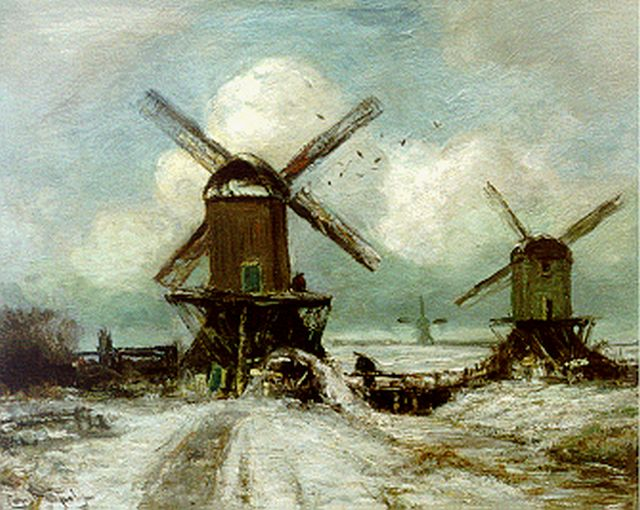 Louis Apol | Windmills in a snow-covered landscape, Öl auf Leinwand, 40,2 x 50,7 cm, signed l.l.