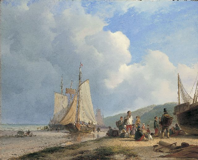 Andreas Schelfhout | Fisherfolk on the beach, Öl auf Leinwand, 67,6 x 84,3 cm, signed c.l. und dated 1831