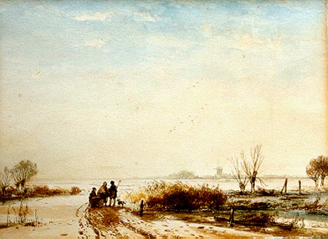 Andreas Schelfhout | A winter landscape with figures by a sledge, Feder und  Aquarell auf Papier, 25,4 x 33,8 cm, signed l.r.