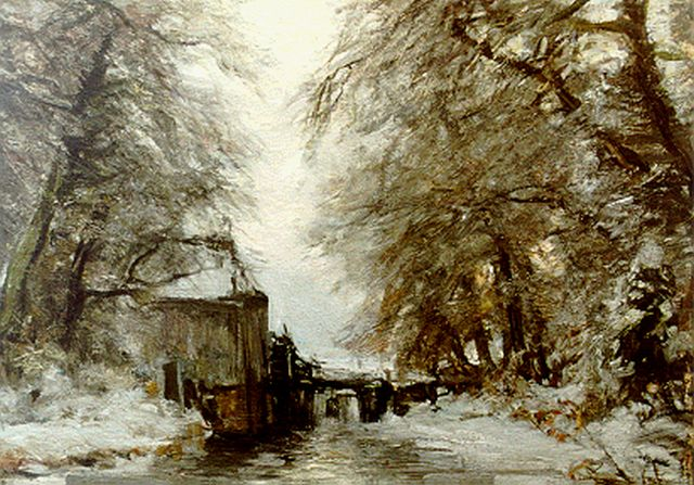 Louis Apol | A water mill in a winter landscape, Öl auf Leinwand, 50,2 x 70,0 cm, signed l.l.