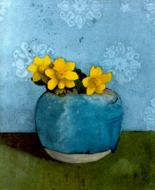 Jan Voerman sr. | A still life with buttercups, Aquarell auf Papier, 25,0 x 20,5 cm