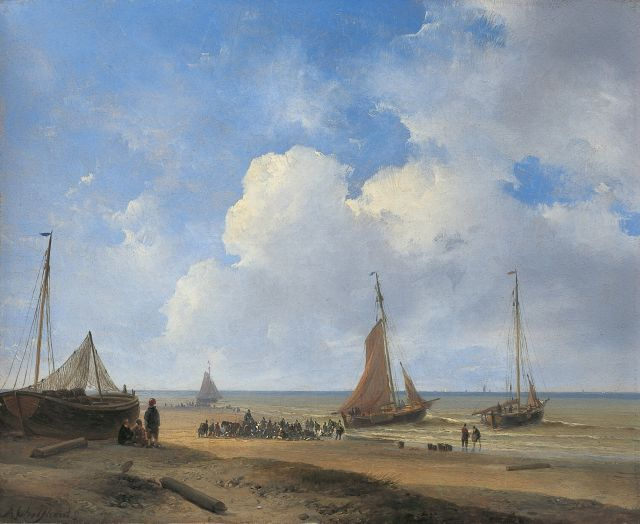 Andreas Schelfhout | Fish auction near Scheveningen, Öl auf Malerpappe, 22,7 x 28,0 cm, signed l.l. und painted in 1835