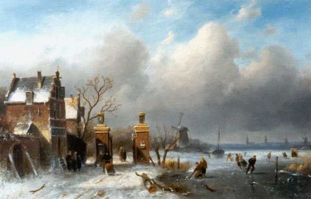 Charles Leickert | Skaters on a frozen waterway, Öl auf Tafel, 25,0 x 40,0 cm, signed l.r.