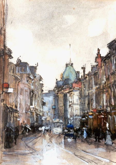 Floris Arntzenius | A view of the 'Gravenstraat', Den Haag, Schwarze Kreide und Aquarell auf Papier, 20,1 x 14,8 cm, signed l.r.
