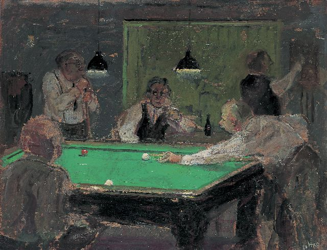 Harm Kamerlingh Onnes | Playing billiards, 33,2 x 42,2 cm, signed l.r. with monogram und dated '71