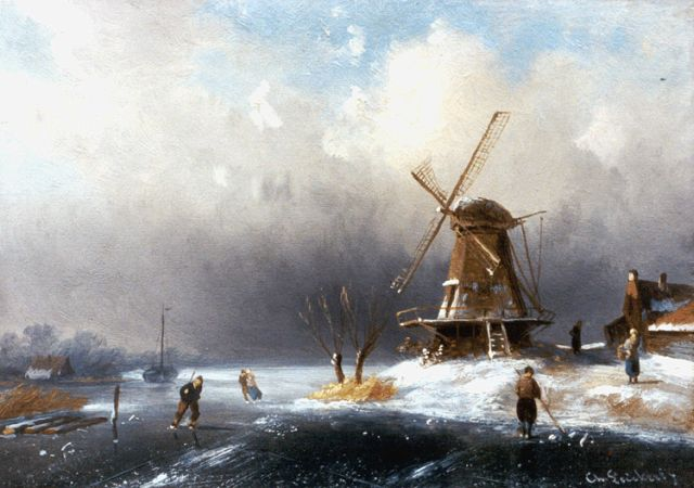 Charles Leickert | A winter landscape with skaters by a windmill, Öl auf Tafel, 12,9 x 18,3 cm, signed l.r.