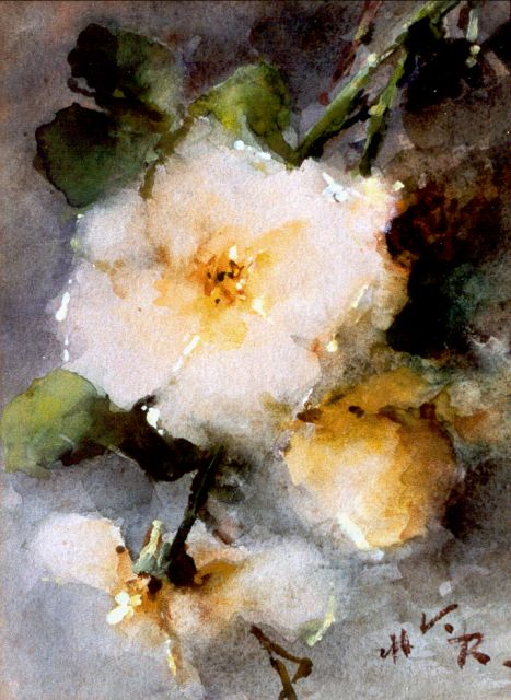 Margaretha Roosenboom | Yellow roses, Aquarell auf Papier, 24,5 x 18,0 cm, signed l.r. with initials