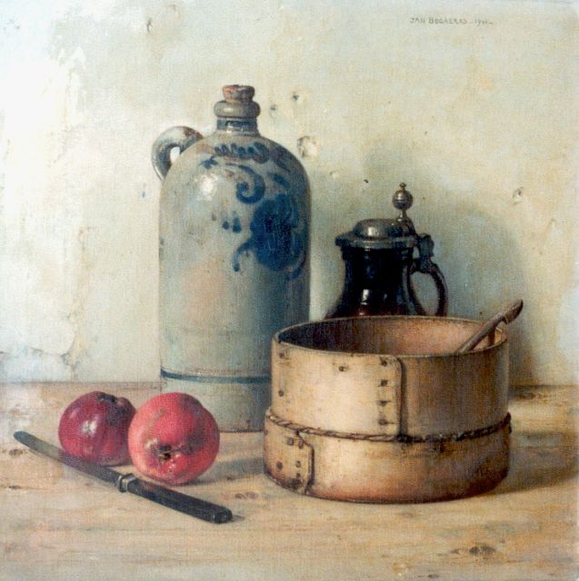Jan Bogaerts | A still life with strainer, Öl auf Leinwand, 50,2 x 50,2 cm, signed u.r. und dated 1941