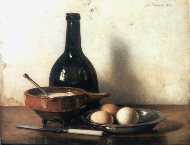 Jan Bogaerts | A still life with eggs and a pewter dish, Öl auf Leinwand, 40,5 x 50,4 cm, signed u.r. und dated 1930