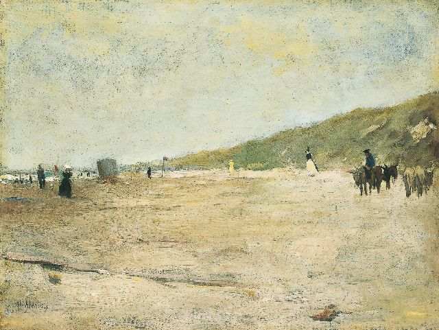 Floris Arntzenius | Beach scene with donkies, Öl auf Leinwand, 31,5 x 41,3 cm, signed l.l.