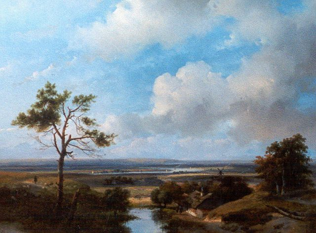 Andreas Schelfhout | A panoramic dune landscape in the surroundings of Haarlem, Öl auf Tafel, 42,7 x 56,0 cm, signed l.l.