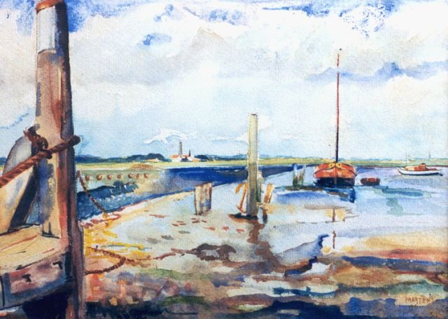 George Martens | Low tide, Schiermonnikoog, Aquarell auf Papier, 27,5 x 38,0 cm, signed l.r. und dated '46
