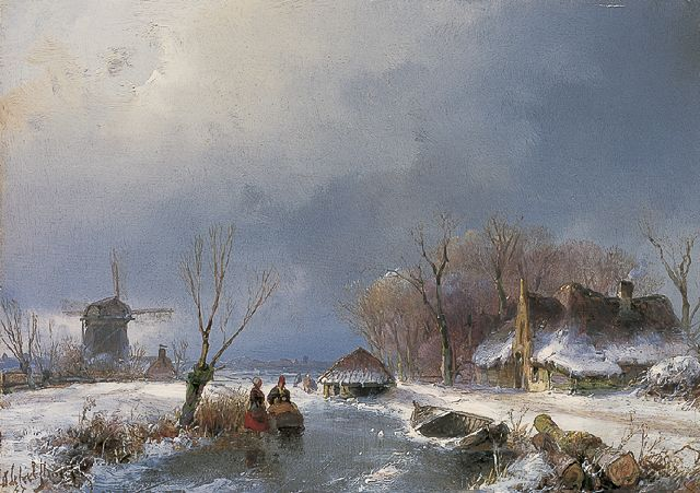 Andreas Schelfhout | A winter landscape with figures on the ice, Öl auf Tafel, 14,0 x 19,5 cm, signed l.l. und dated '47