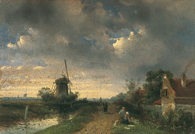 Charles Leickert | Travellers on a path in a river landscape, Öl auf Tafel, 17,7 x 25,7 cm, signed l.l.