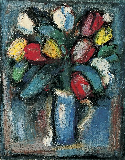 Jaap Nanninga | Tulips in a vase, Öl auf Leinwand, 50,5 x 40,5 cm, signed l.r. und painted circa 1946-1948