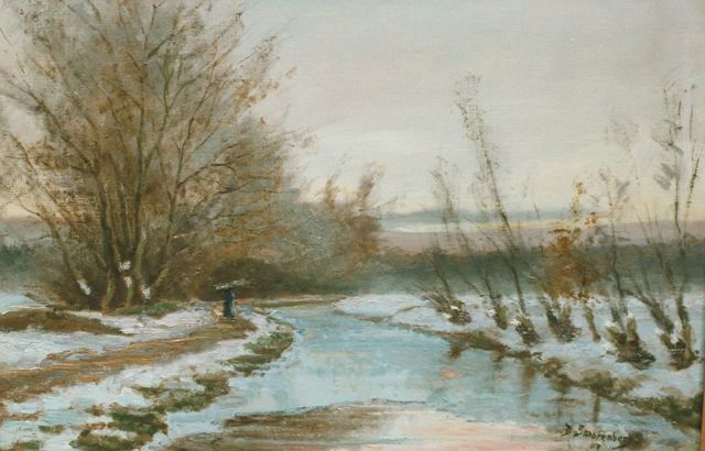 Dirk Smorenberg | A stream in a snow-covered landscape, Öl auf Leinwand, 40,5 x 60,5 cm, signed l.r. und dated '07