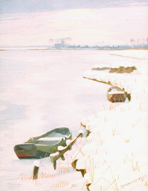 Dirk Smorenberg | A winter landscape with moored barges, Öl auf Leinwand, 44,3 x 34,6 cm, signed l.r. und dated '24