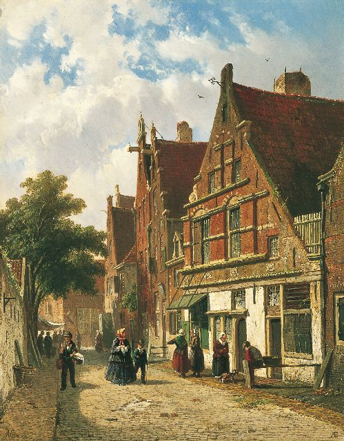 Eversen A.  | A Dutch street in summer, Öl auf Tafel 34,5 x 27,0 cm, signed l.l. and l.r. with monogram