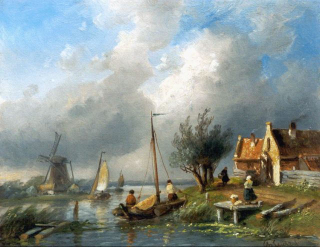 Charles Leickert | Sailing boats on a canal, Öl auf Tafel, 21,7 x 27,1 cm, signed l.r.