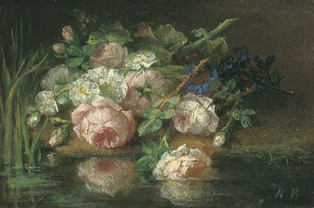 Margaretha Roosenboom | Flowers on the riverbank, Öl auf Tafel, 7,4 x 11,2 cm, signed l.r. with initials