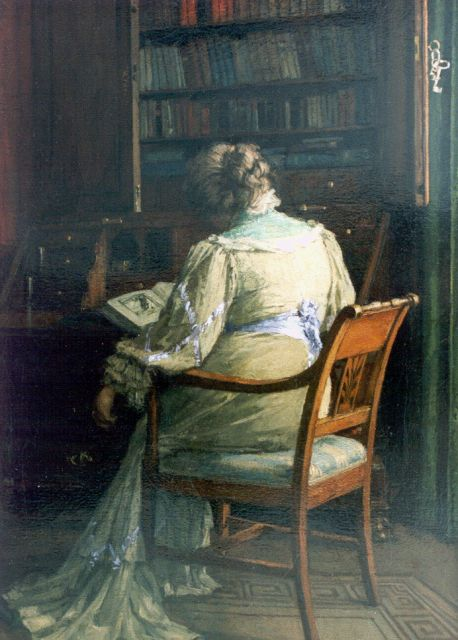 Jan Bogaerts | A lady reading in a library, Öl auf Leinwand, 45,4 x 32,6 cm, signed l.r. und dated 1907