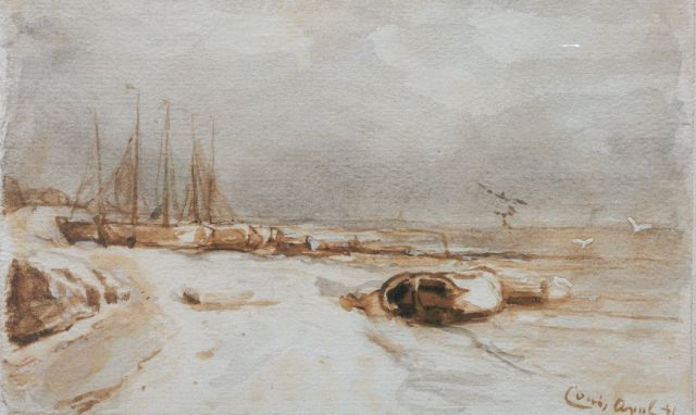 Louis Apol | Moored boats in winter, Getuschte Tinte und Aquarell auf Papier, 11,0 x 18,0 cm, signed l.r.