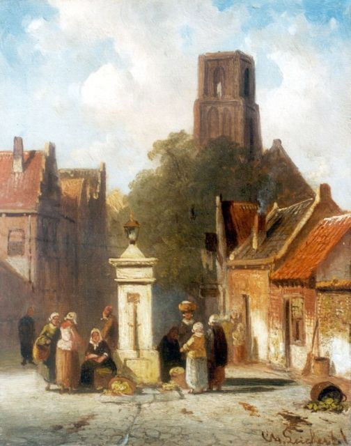 Charles Leickert | A village square with vegetable-seller, Öl auf Tafel, 16,1 x 12,8 cm, signed l.r.