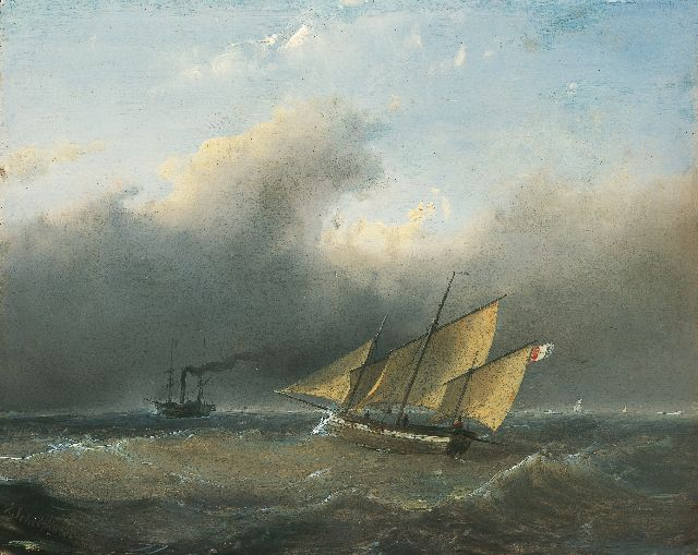 Andreas Schelfhout | Shipping on choppy waters, Öl auf Tafel, 21,2 x 26,6 cm, signed l.l.