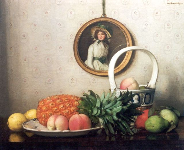 Jan Bogaerts | A still life with abricots, lemons and a pineapple, Öl auf Leinwand, 50,2 x 61,0 cm, signed u.r. und dated 1911