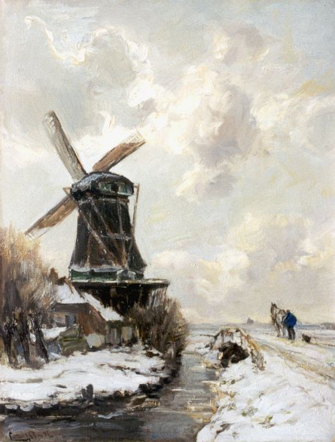 Louis Apol | A snow-covered landscape with windmill, Öl auf Leinwand, 42,4 x 32,6 cm, signed l.l.