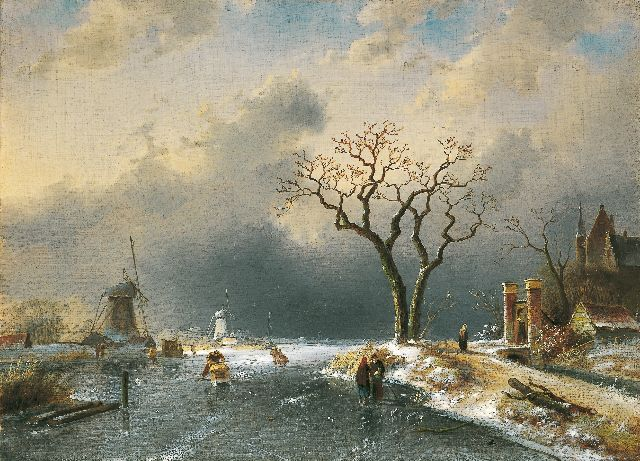 Charles Leickert | A winter landscape with skaters and a 'koek en zopie', Öl auf Leinwand, 43,5 x 60,0 cm, signed l.l. und dated '65