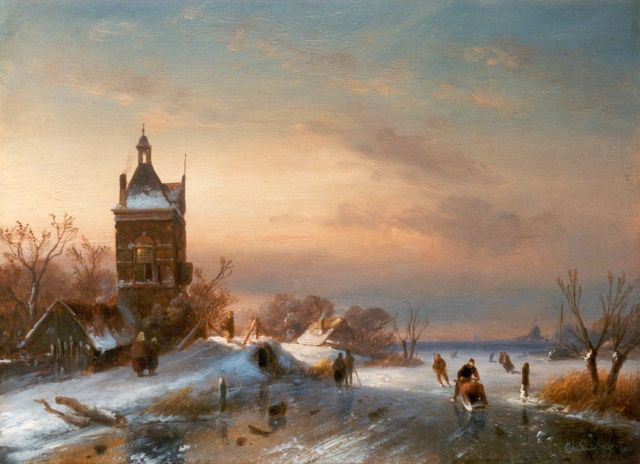 Charles Leickert | Skaters on a frozen waterway, Öl auf Tafel, 23,6 x 32,0 cm, signed l.r.