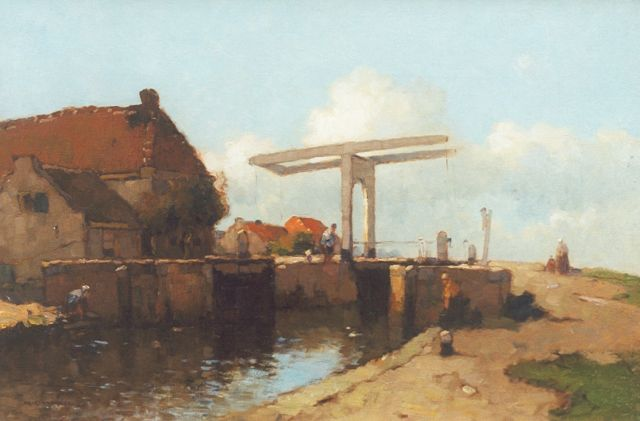 Knikker A.  | View on a lock with a drawbridge, Öl auf Leinwand, 40,2 x 60,2 cm, signed l.l.