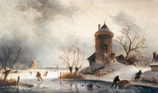 Charles Leickert | A winter landscape with skaters on the ice, Aquarell auf Papier, 20,5 x 34,0 cm, signed l.l.