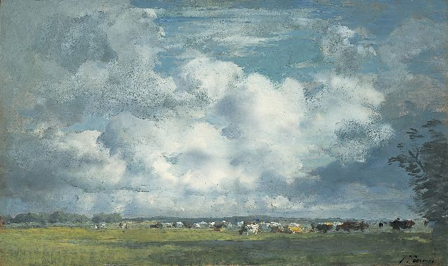 Jan Voerman sr. | A landscape with cows grazing, Hattem, Öl auf Tafel, 31,0 x 52,0 cm, signed l.r.