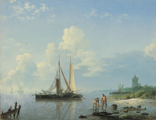 Hermanus Koekkoek | Shipping in a calm, Öl auf Tafel, 21,5 x 27,6 cm, signed l.l. und painted between 1833-1836