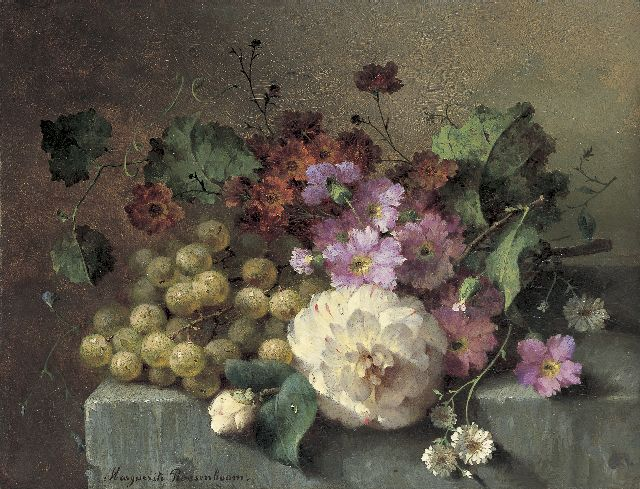 Margaretha Roosenboom | Flowers and grapes on a stone ledge, Öl auf Tafel, 26,0 x 33,9 cm, signed l.l.