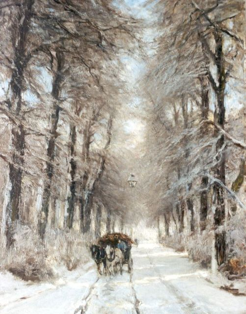Louis Apol | A horse-drawn cart on a country lane in winter, Öl auf Leinwand, 85,4 x 66,5 cm, signed l.l.