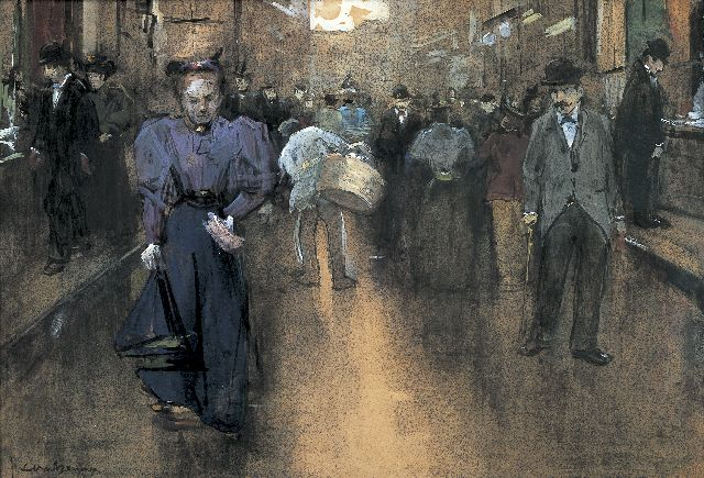 Floris Arntzenius | A view of the 'Spuistraat', The Haque, Schwarze Kreide, Aquarell und Gouache auf Papier, 28,0 x 41,5 cm, signed l.l.