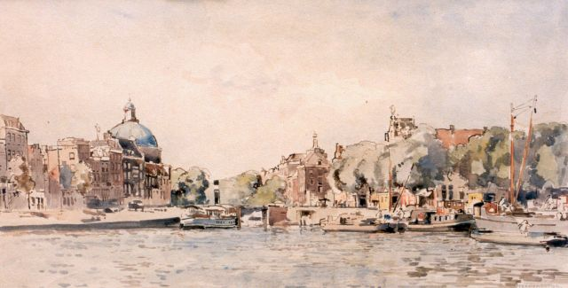 Cornelis Vreedenburgh | Moored boats with the 'Lutherse kerk' in the distance, Aquarell auf Papier, 25,0 x 48,0 cm, signed l.r.