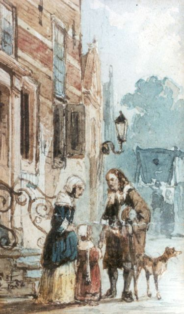 Springer C.  | The conversation, Aquarell auf Papier, 7,8 x 5,0 cm, signed l.l. with monogram und executed on 31/12-52
