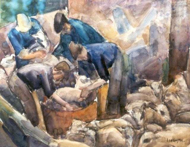 Leo Gestel | Sheepshearers, Holzkohle und Aquarell auf Papier, 47,4 x 61,5 cm, signed l.r. und painted circa 1926